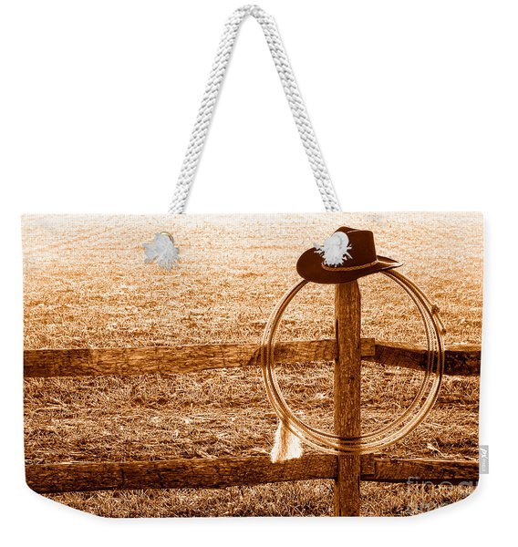 Misty Morning At The Ranch - Sepia Weekender Tote Bag