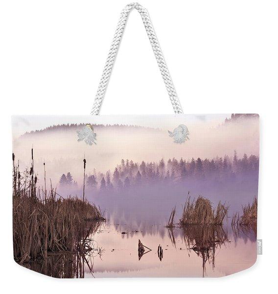 Misty Morning At Vaseux Lake Weekender Tote Bag