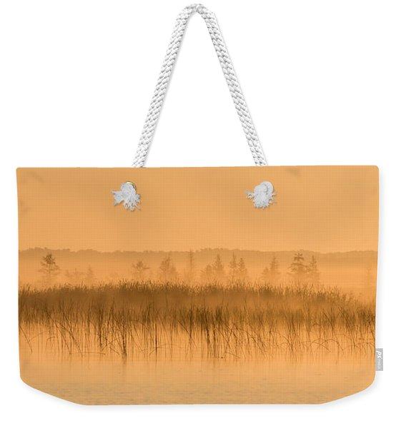 Misty Morning Floating Bog Island On Boy Lake Weekender Tote Bag