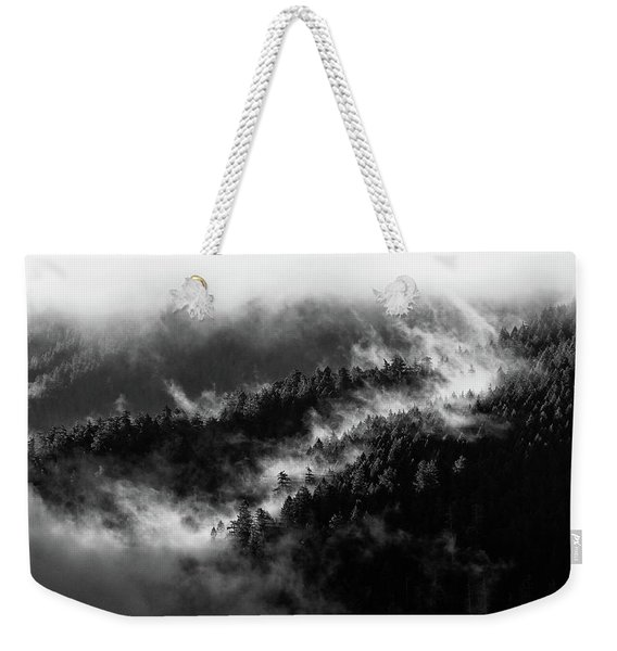 Weekender Tote Bag featuring the photograph Misty Mountain Pines by Michael Hope