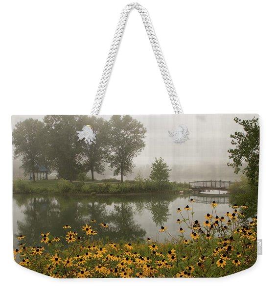 Misty Pond Bridge Reflection #3 Weekender Tote Bag