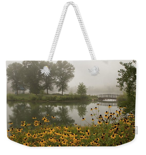 Misty Pond Bridge Reflection #3 Weekender Tote Bag