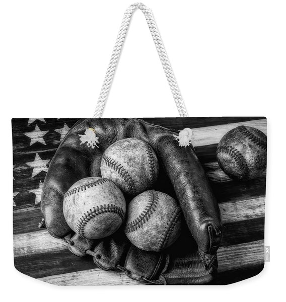 Mitt With Three Balls Black And White Weekender Tote Bag