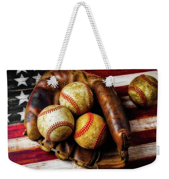 Mitt With Three Balls Weekender Tote Bag