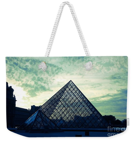 Mixed Media Green Blue The Louvre  Weekender Tote Bag