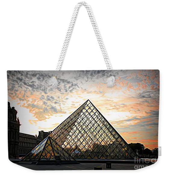 Mixed Media The Louvre Digital Color  Weekender Tote Bag