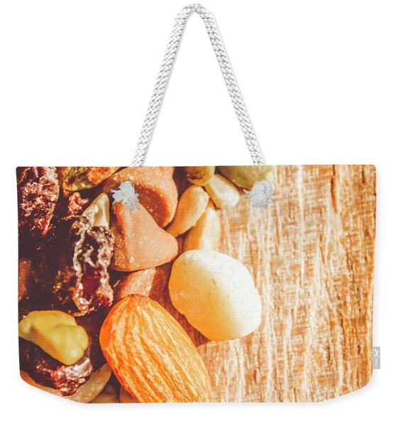 Mixed Nuts On Wooden Background Weekender Tote Bag