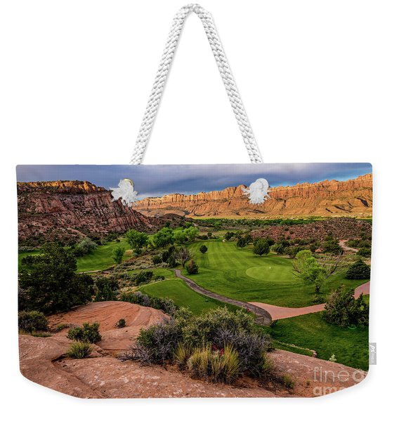 Moab Desert Canyon Golf Course At Sunrise Weekender Tote Bag