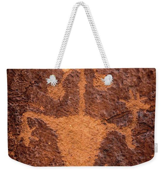 Moab Man Petroglyph Portrait - Utah Weekender Tote Bag