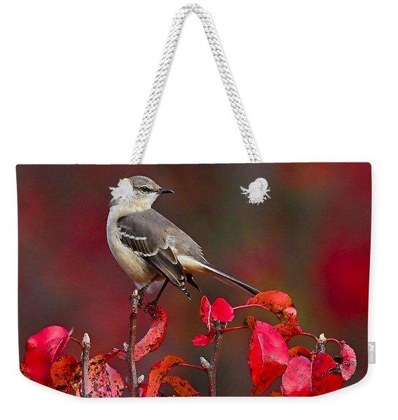 Mockingbird On Red Weekender Tote Bag