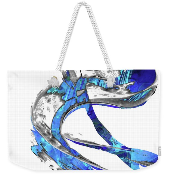 Modern Blue And White Art - Flowing 4 - Sharon Cummings Weekender Tote Bag