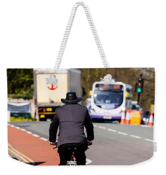 Modern Cowboy On Bike Weekender Tote Bag