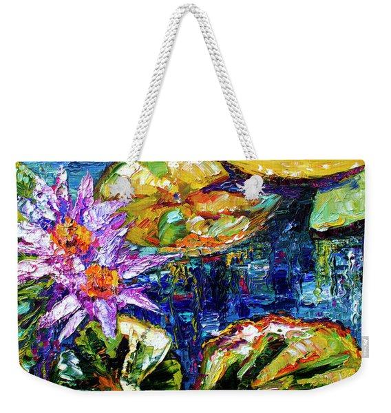 Modern Impressionist Lily Pond Reflections Weekender Tote Bag