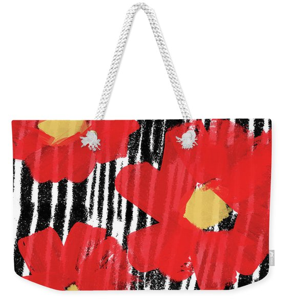 Modern Red Flowers- Art By Linda Woods Weekender Tote Bag