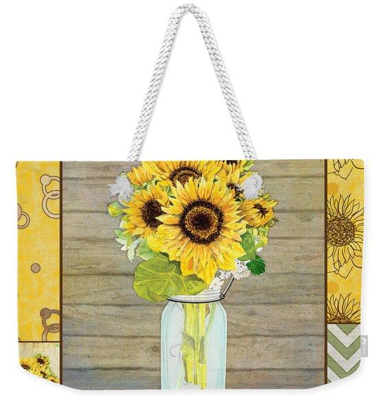 Modern Rustic Country Sunflowers In Mason Jar Weekender Tote Bag