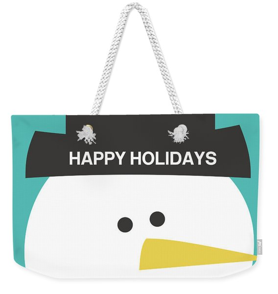 Modern Snowman Happy Holidays- Art By Linda Woods Weekender Tote Bag