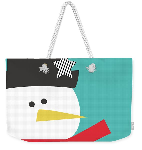 Modern Snowman With Star- Art By Linda Woods Weekender Tote Bag