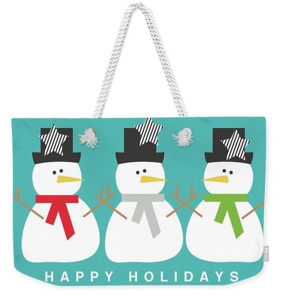 Modern Snowmen Happy Holidays- Art By Linda Woods Weekender Tote Bag