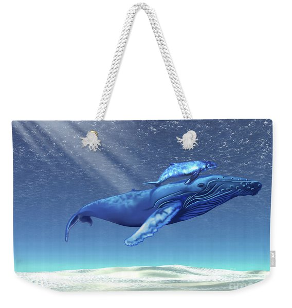 Mom And Baby Humpback Whales Swim Weekender Tote Bag