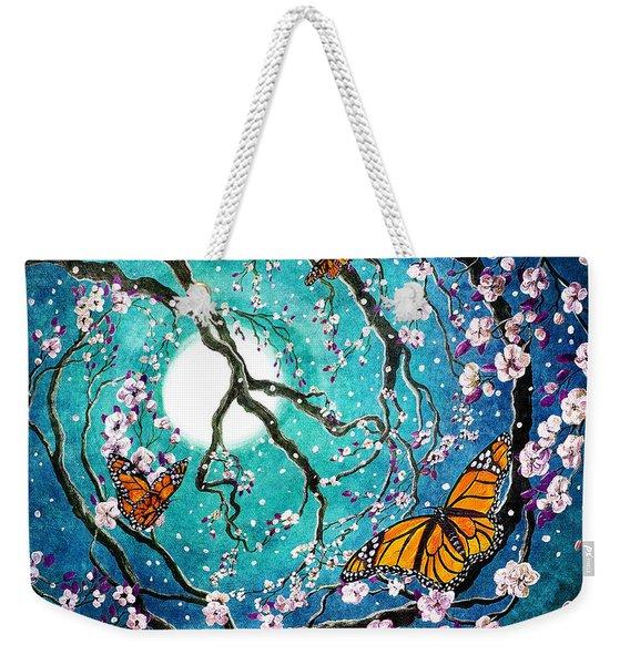 Monarch Butterflies In Teal Moonlight Weekender Tote Bag