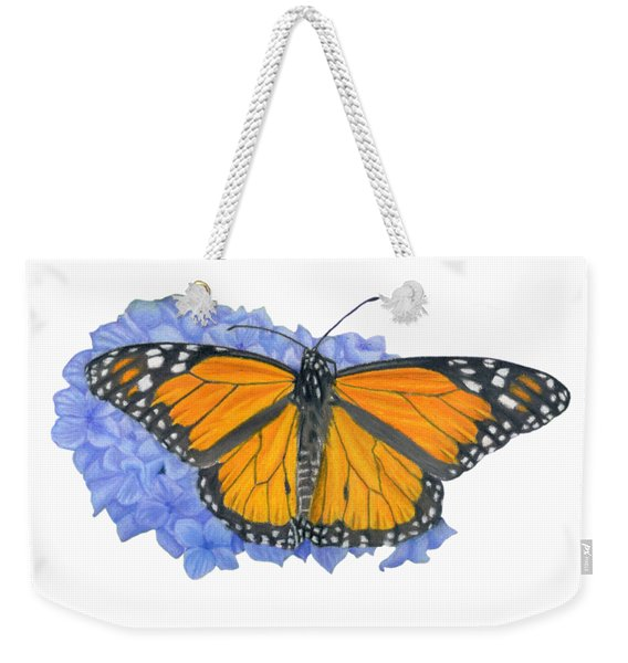 Monarch Butterfly And Hydrangea- Transparent Background Weekender Tote Bag