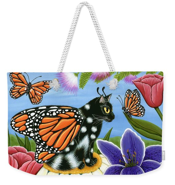 Monarch Butterfly Fairy Cat Weekender Tote Bag