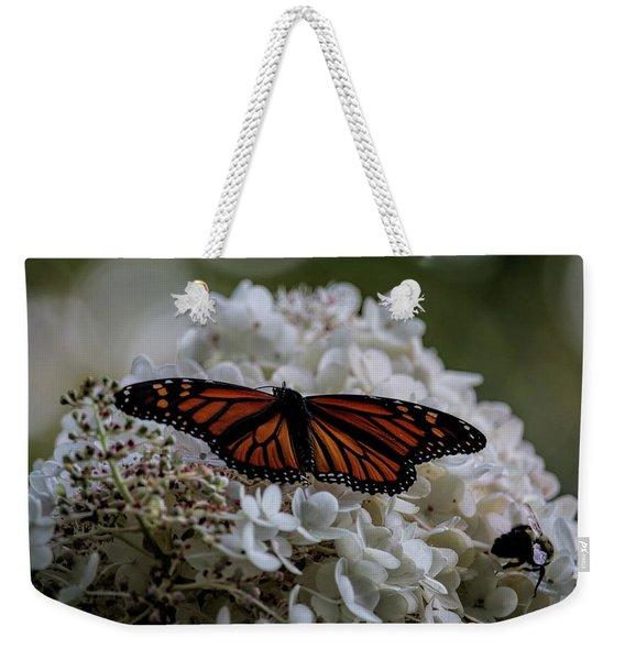 Monarch Butterfly Feeding On Hydrangea Tree Weekender Tote Bag