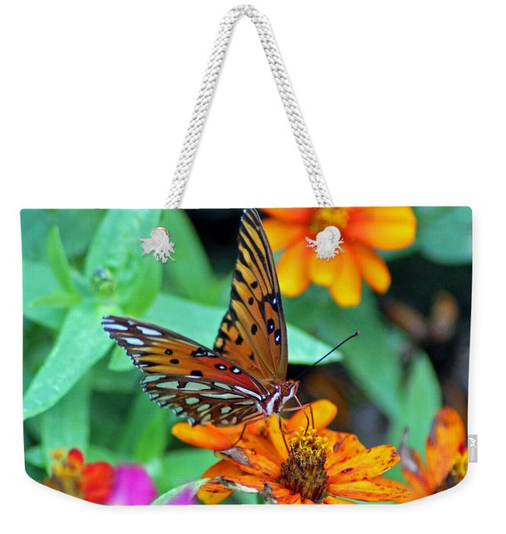 Monarch Butterfly Resting Weekender Tote Bag