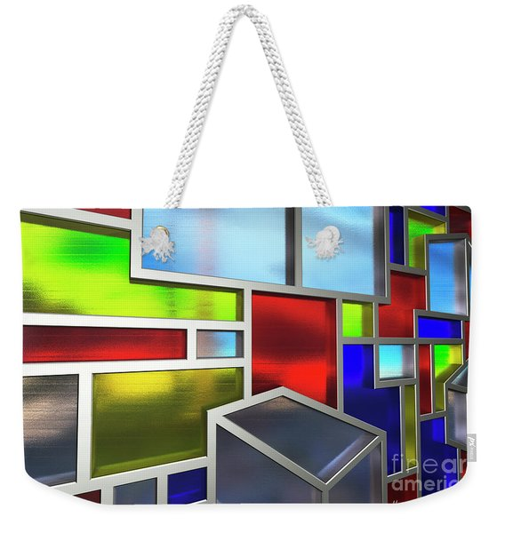 Mondrian Influenced Stained Glass No2 Macro1 Amcg-20160709 Weekender Tote Bag