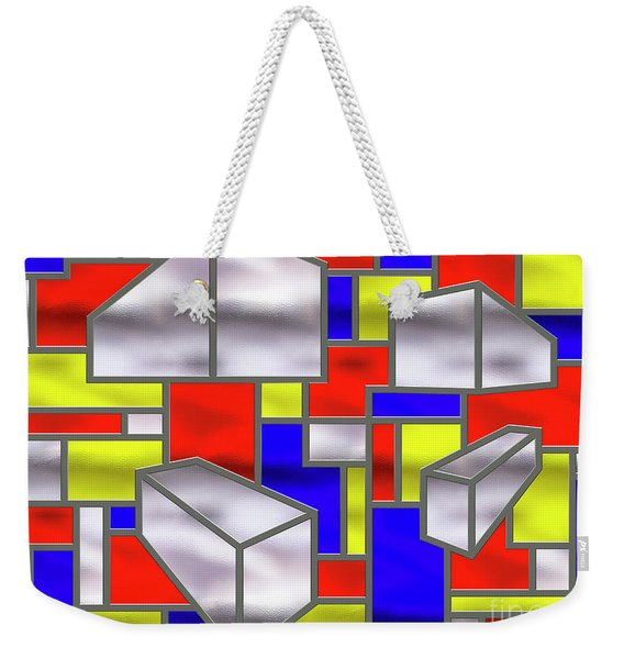 Mondrian Influenced Stained Glass Panel No2 - Amcg20160722 Weekender Tote Bag
