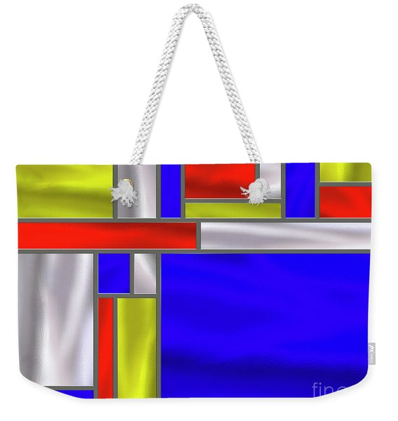 Mondrian Influenced Stained Glass Panel No5 - Amcg20160729 Weekender Tote Bag