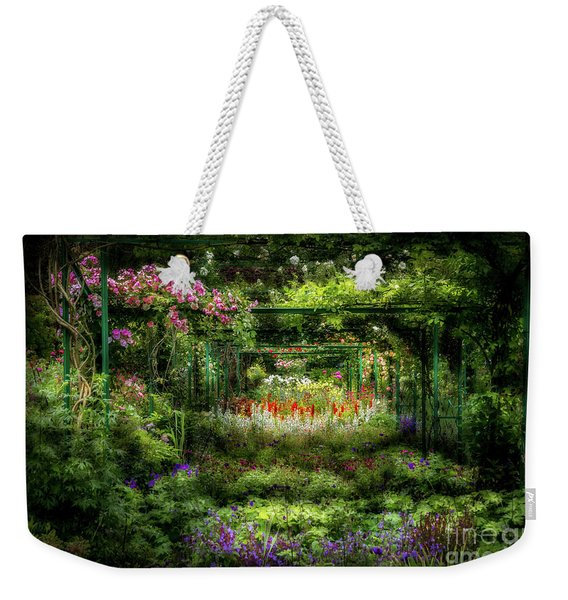Monet's Lush Trellis Garden In Giverny, France Weekender Tote Bag