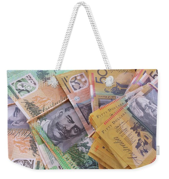 Weekender Tote Bag featuring the photograph Money by Debbie Cundy