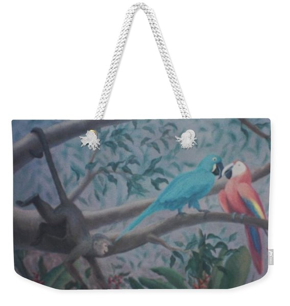 Monkey Artist Painting The Moon  Weekender Tote Bag
