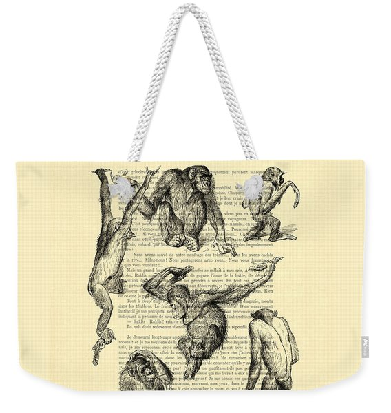 Monkeys Black And White Illustration Weekender Tote Bag