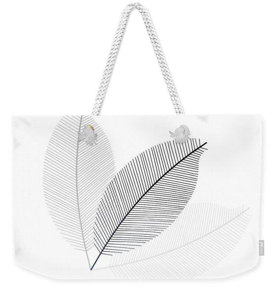 Monochrome Leaves Weekender Tote Bag
