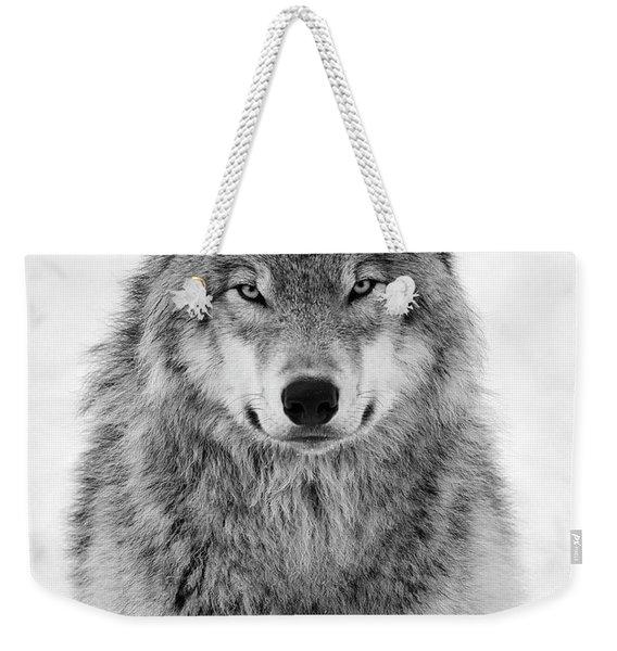 Monotone Timber Wolf  Weekender Tote Bag