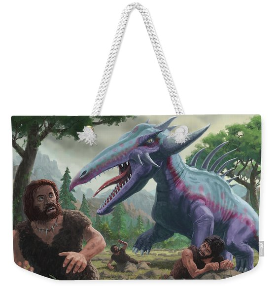 Monster Attacking Cavemen Weekender Tote Bag