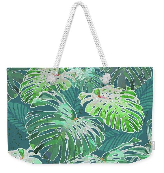 Monstera Jungle Teal Weekender Tote Bag