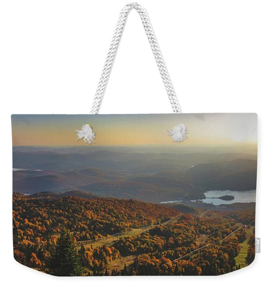 Weekender Tote Bag featuring the photograph Mont Tremblant Summit Panorama by Andy Konieczny