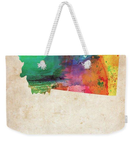 Montana Colorful Watercolor Map Weekender Tote Bag