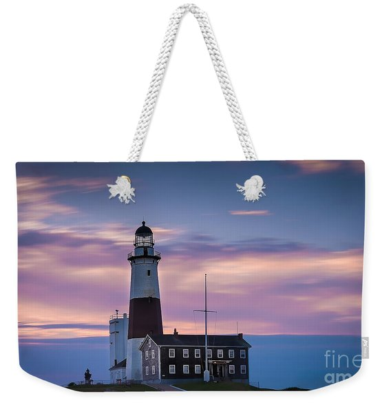Montauk Lighthousepastel  Sunrise Weekender Tote Bag