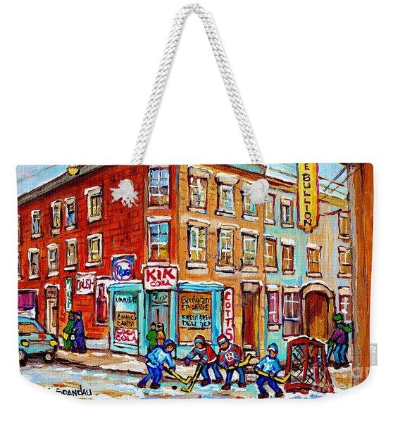 Montreal Storefront Paintings Debullion Street Hockey Art Quebec Winterscenes C Spandau Canadian Art Weekender Tote Bag