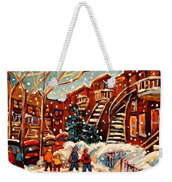 Montreal Street In Winter Weekender Tote Bag