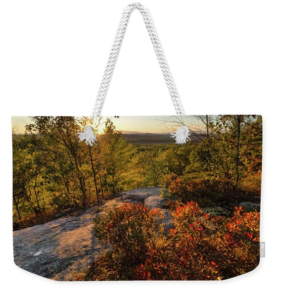 Weekender Tote Bag featuring the photograph Monument Hill Sunset, Leeds, Maine #70047-49 by John Bald
