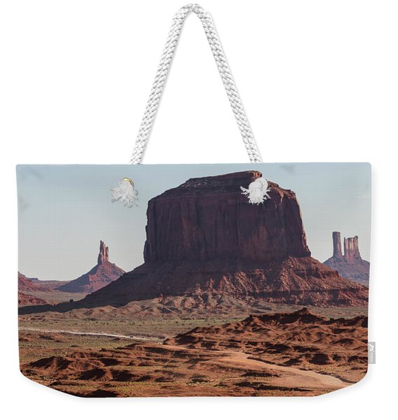 Monument Valley Man On Horse Sunrise  Weekender Tote Bag