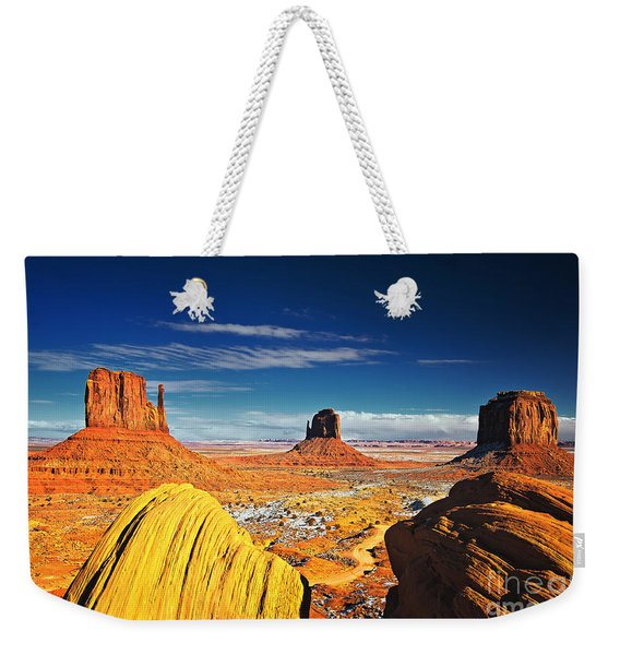 Weekender Tote Bag featuring the photograph Monument Valley Mittens Utah Usa by Sam Antonio