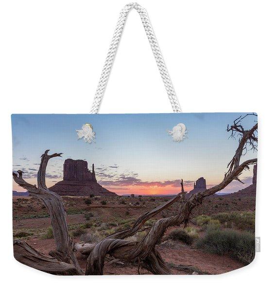 Monument Valley Sunrise With Wood  Weekender Tote Bag