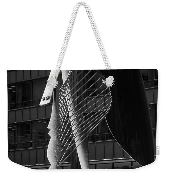 Monumental Sculpture In Front Of A Building, Chicago Picasso, Daley Plaza, Chicago, Illinois, Usa Weekender Tote Bag