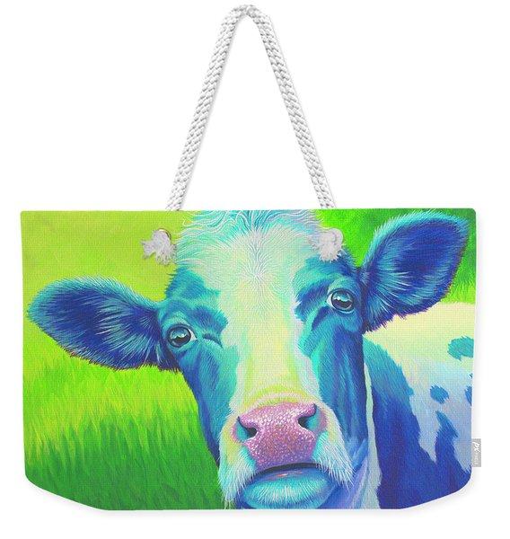 Moo Now Blue Cow Weekender Tote Bag